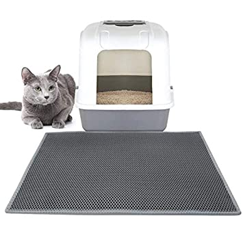 Black Waterproof Traps Litter from Box and Cats Easy Clean Mat Durable Sweetpets 35 x 23 Cat Litter Mat Large Litter Mat Double Layer Design Scatter Control
