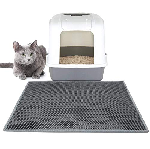 Sweetpets Large Litter Mat, 35'' x 23'' Cat Litter Mat, Double Layer Design, Waterproof, Durable, Traps Litter from Box and Cats, Scatter Control, Easy Clean Mat (Grey) by Sweetpets