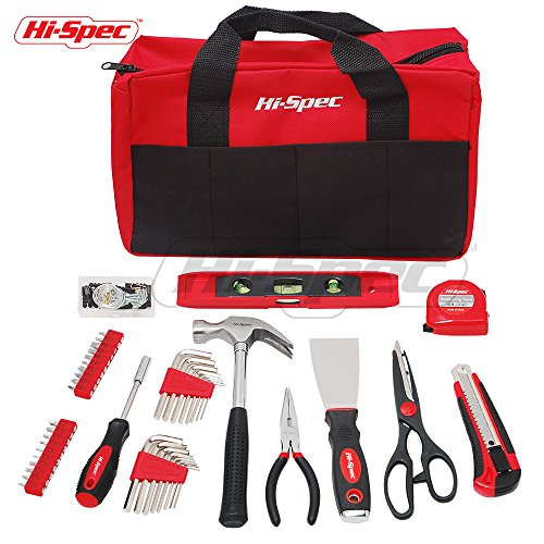 Hi-Spec 86 Piece Home Maintenance & Repairs Tool & Bag Set with Claw Hammer, Pliers, Scissors, Utility Knife, Putty Knife, Most Popular SAE Screw Bit & Hex Key Sizes, 40pc Picture Hanging Kit & Tools (Selection Torpedo)