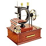 Yeefant Vintage Carved Mechanism Wind Up Music Box Mini Sewing Machine Style Mechanical Birthday Gift Table Decor Christmas Birthday Valentine's day