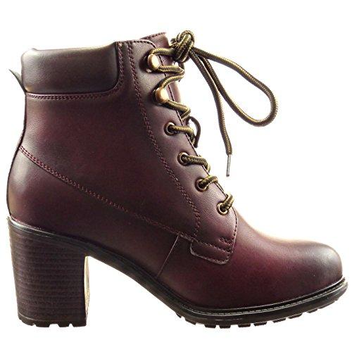 Sopily - Scarpe da Moda Stivaletti - Scarponcini low boots donna finitura cuciture impunture Tacco a blocco tacco alto 7 CM - Rosso