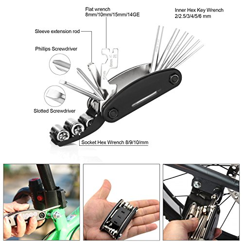 DAWAY A35 Bike Repair Kit - 120 PSI Mini Pump & 16 in 1 Bicycle Multi Tool with Handy Bag Included Glueless Tire Tube Patches & Tire Levers by DAWAY (Image #3)