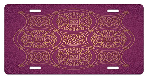 Purple Mandala License Plate by Ambesonne, Persian Ornamental Lace Pattern Traditonal Authentic Arabic Folkloric Boho Design, High Gloss Aluminum Novelty Plate, 5.88 L X 11.88 W Inches, Gold