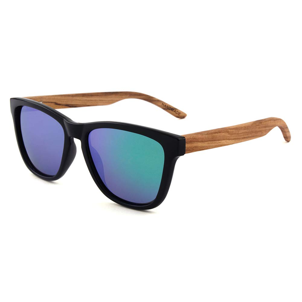 Wooden Polarized Keyhole Square Frame Sunglasses for Men Women