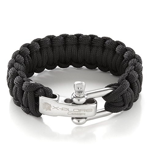X-Plore Gear Paracord Bracelet Survival Kit For Men & Women | Adjustable Stainless Steel D Shackle Gear For Comfy Fit | For Emergencies, Travel, Hiking, Wilderness, Camping, Fishing, Hunting, & More