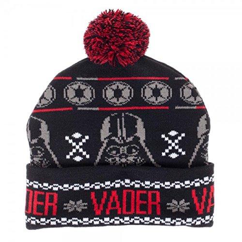 Bioworld Star Wars Darth Vader Fairisle Pom Beanie Winter Hat , Black , One Size  -