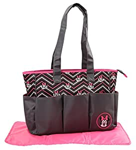 Disney Minnie Mouse Chevron Print, Triple Pocket Diaper Bag Tote