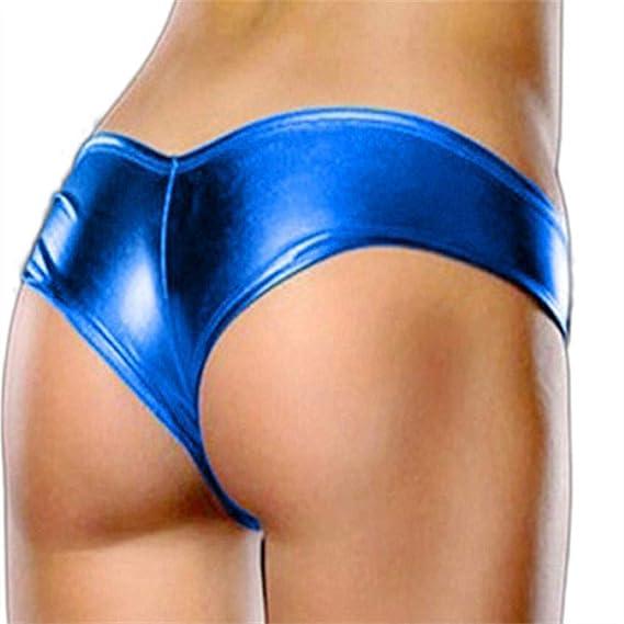 VJGOAL Mujeres Sexy Tentación Calzoncillos de Cuero de imitación Desnuda Ropa Interior erótica Bikini Tangas(