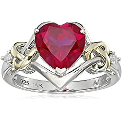 Sterling Silver and 14k Yellow Gold Diamond and Heart-Shaped Created Ruby Ring Valentine's Day gift