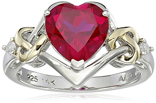 Sterling Silver and 14k Yellow Gold Diamond and Heart-Shaped Created Ruby Ring (0.03 cttw, I-J Color, I3 Clarity), Size - Shaped Diamond Wedding Ring