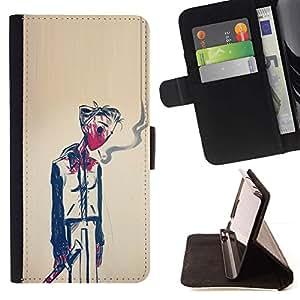 Momo Phone Case / Flip Funda de Cuero Case Cover - Hombre Humo Muerte Pintura Arte Simbólico - Samsung Galaxy Note 4 IV