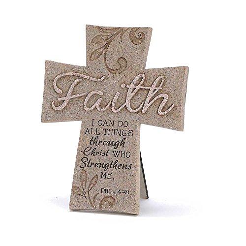 Faith Can Do All Things Through Christ 6.5 Inch Resin Easelback Wall - Resin Wall Cross