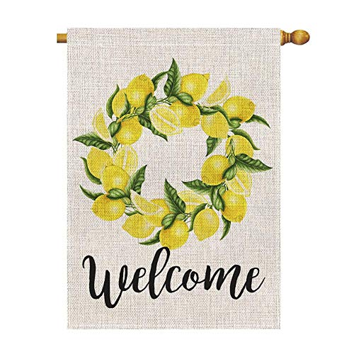 Outdoor House Flag - Welcome Lemon Wreath Large House Flag Vertical Double Sided 28 x 40 Inch Summer Burlap Yard Outdoor Decor