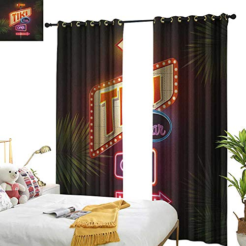 longbuyer Tiki Bar Blackout Draperies for Bedroom Old Fashioned Neon Signs Illustration of Open Bar Palm Tree Branches Roadside W108 x L84,Suitable for Bedroom Living Room Study, etc.