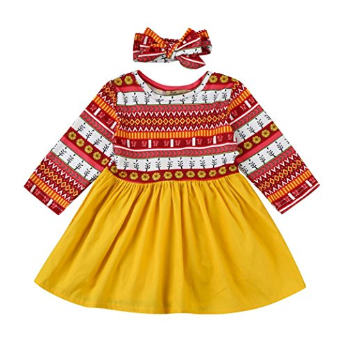 Gotd 2PCs Toddler Kids Baby Girl Floral Print Dress+Headband Outfits Clothes Set Long Sleeve (6-12 Months, (Girls Clearance Dresses)