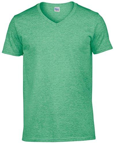 Gildan Mens Soft Style V-Neck Short Sleeve T-Shirt (XXL) (Heather Irish Green) ()