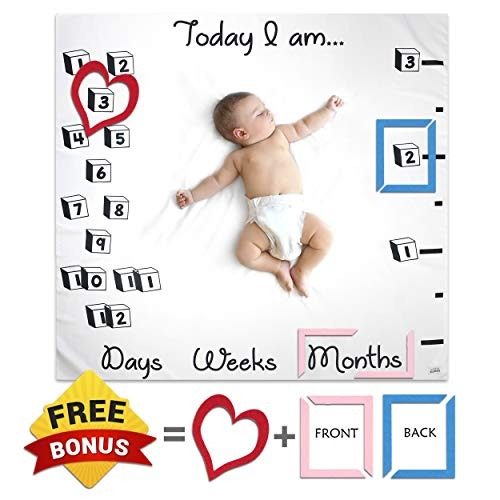 Baby Monthly Milestone Blanket Photo Props Set By Little Gonza | Photography Age Blanket for Boy Girl Newborn Toddler | Photo Backdrop Background Month Blanket | Baby Registry, New Mom, Baby Shower