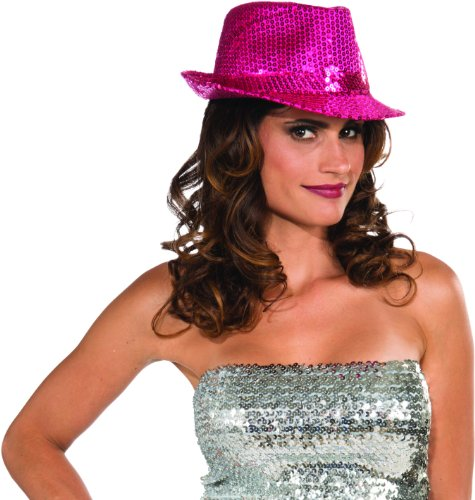 Funky Magenta Sequin Club Dazzle Roaring 20s Gangster Girl Costume Fedora Hat