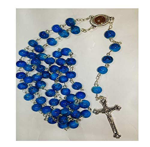 - Beautiful Glass Beads Rosary Catholic Necklace Holy Soil Medal & Crucifix by Bethlehem Gifts TM (Blue)