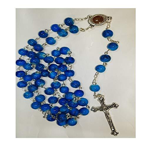 Beautiful Glass Beads Rosary Catholic Necklace Holy Soil Medal & Crucifix by Bethlehem Gifts TM ()