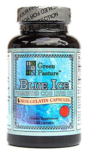Non Gelatin (BLUE ICE Fermented Cod Liver Oil -Non-Gelatin 120 Capsules Orange Flavor)