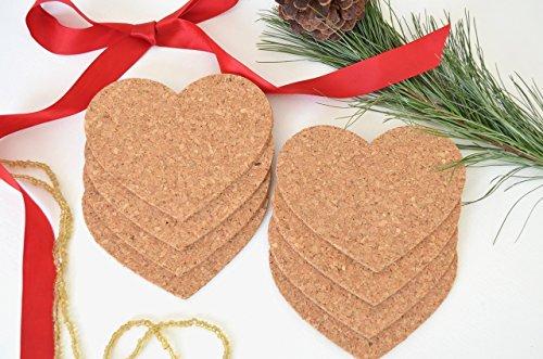 Set of 8 Handmade Heart Shaped Cork (Shaped Coasters)