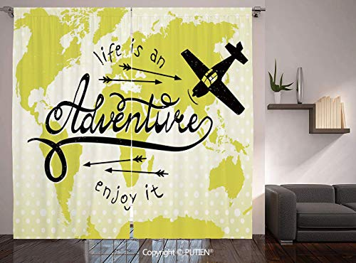 Thermal Insulated Blackout Window Curtain [ Adventure,Life is an Adventure Quote Map of the World Small Airplane Traveling Art Print Decorative,Yellow Black ] for Living Room Bedroom Dorm Room Classro]()