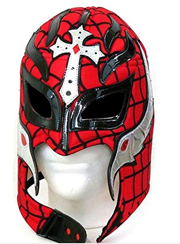Del Mex Lycra Lucha Libre Adult Luchador Mexican Wrestling Mask Costume (Rey Mysterio (Black/Red))