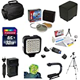 Must Have Accessory Kit For the Canon Vixia HF G10, HF G20, HF G30, HF S20, HF S21, HF S30, HF S200 Includes 32GB High Speed Error Free SDHC Memory Card + SDHC Card Reader + 58MM 3 Piece Pro Filter Kit (UV, CPL, FLD) + BP-828 Extended Life Replacement Battery Pack + Rapid AC/DC Battery Charger + 54 Inch Professional Video Tripod + Opteka X-GRIP Action Stabilizing Handle + Ultra High Power 36 Pin LED Video Light + Hot Shoe Three Axis Triple Bubble Spirit Level + Deluxe Gadget Bag Carrying Case +