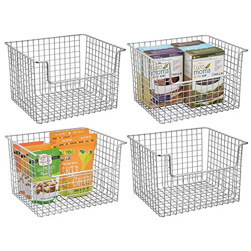 mDesign Metal Kitchen Pantry Food Storage Organizer Basket – Farmhouse Grid Design with Open Front for Cabinets…