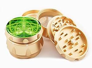 "Glowing Weed Design Premium Grade Aluminum Tobacco,Herb Grinder -4Pcs Large (2.5"" Gold) # GLD-110514-0037"