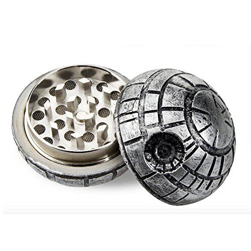 D-STAR® Death Star Wars 3Pcs Weed Tobacco Spice Herb Grinder collectable Art Aluminum 55mm 2.2 Inch 28Teeth Diamond Shape