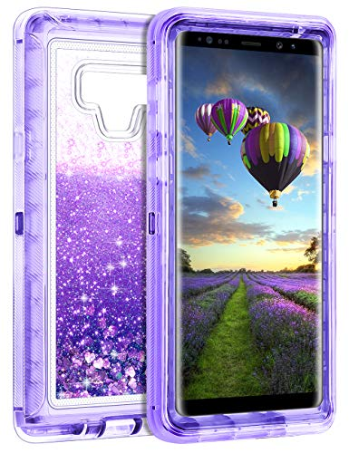 Coolden Galaxy Note 9 Case, Luxury Floating Glitter Case Sparkle Bling Quicksand Liquid Cover Clear Heavy Duty Bumper Dual Layer Anti-Drop PC Frame & TPU Back for Samsung Galaxy Note 9, Purple