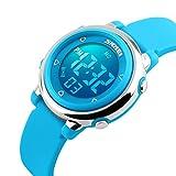 Kids Boys Girls Watches,Digital Sports Watches,Waterproof Outdoor Luminescent MultiFunction LED Wrist Watch (Blue)