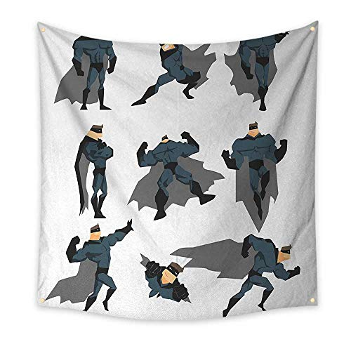 Superhero Pattern Tapestry Fun Cartoon Man in Costume Posing Hero Flying Running with Superpowers Art Print Gorgeous Tapestry 39W x 39L InchWhite Grey