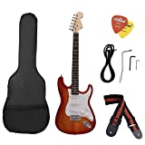 Andoer ST Electric Guitar Basswood Body Rosewood Fingerboard with Gig Bag Picks Strap