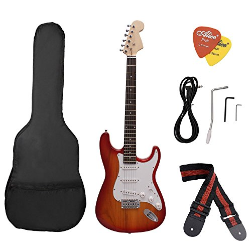 Andoer ST Electric Guitar Basswood Body Rosewood Fingerboard with Gig Bag Picks Strap by Andoer