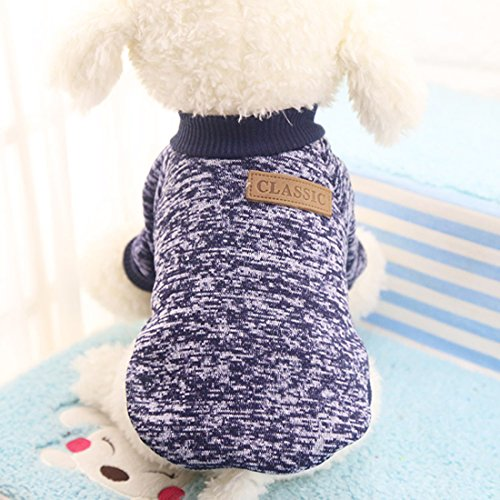 Idepet Pet Dog Classic Knitwear Sweater,Fleece Coat for Small,Medium,Large Dog,Warm Pet Dog Cat Clothes,Soft Puppy Customes 2 Color (XXL, Navy)