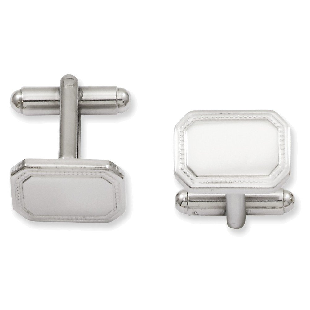 Rhodium-plated Kelly Waters Polished Rectangle Cuff Links