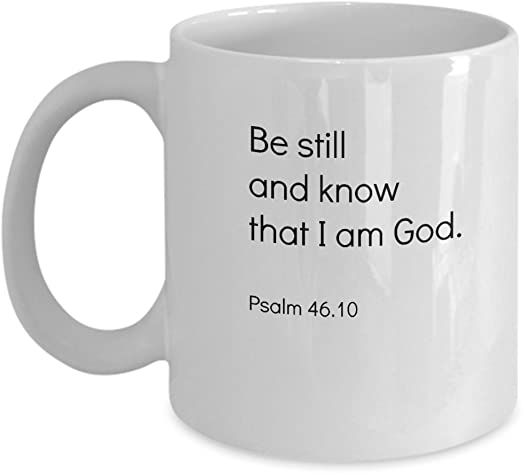 com be still christian faith bible quotes coffee mug peace