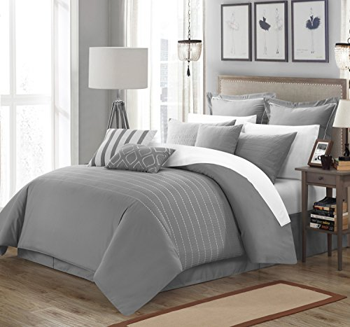 Perfect Home 9 Piece Paddington Super Rich Microfiber Stitch Embroidered Queen Comforter Set Grey ()