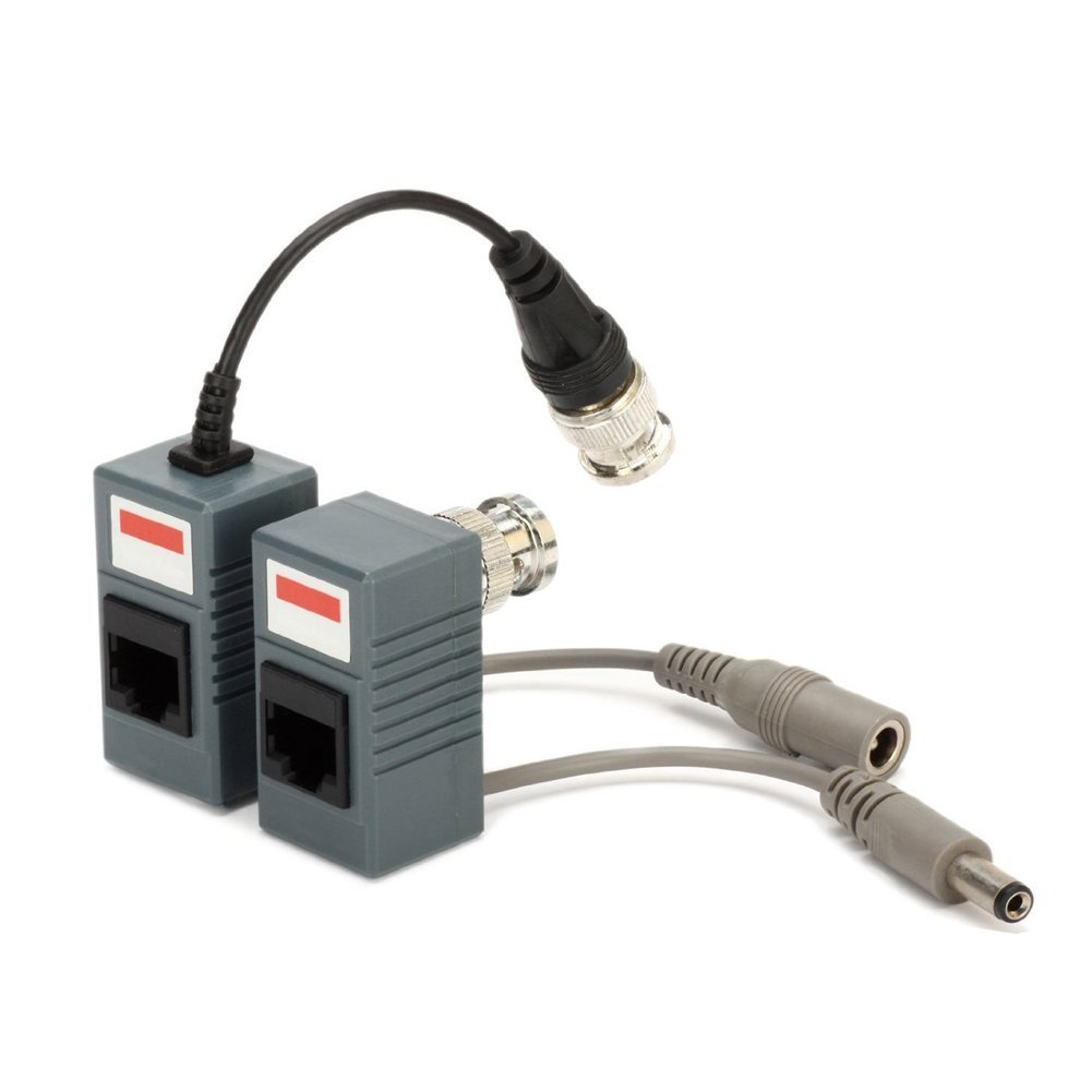 Video Balun 4-CH Active Video//Audio//Power Transmitter DC 12V Over UTP Cable