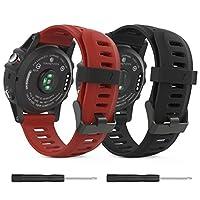 MoKo Garmin Fenix 3 /Fenix 5X Watch, Repuesto de silicona suave [Paquete de 2] Watch Band para Garmin Fenix 3 /Fenix 3 HR /Fenix 5X /5X Plus /D2 Delta PX /Descent Mk1 Reloj inteligente - Negro y rojo oscuro