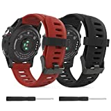 MoKo Garmin Fenix 3/Fenix 5X Watch band, Soft Silicone Replacement [2 PACK] Watch Band for Garmin Fenix 3/Fenix 3 HR/Fenix 5X/5X Plus/Descent Mk1 Smart Watch - Black & Dark Red