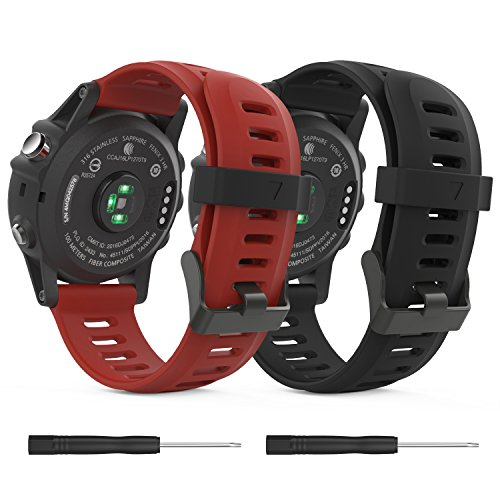 MoKo Garmin Fenix 3/Fenix 5X Watch Band, Soft Silicone Replacement [2 Pack] Watch Band for Garmin Fenix 3/Fenix 3 HR/Fenix 5X/5X Plus/D2 Delta PX/Descent Mk1 Smart Watch - Black & Dark Red