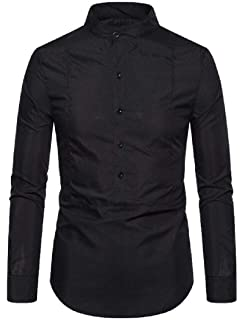 SHOWNO Mens Button Down Long Sleeve Casual Solid Color Pocket Outdoor Shirts