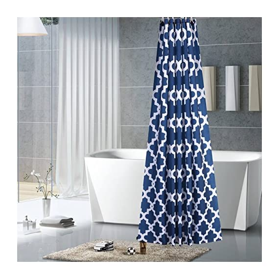 "Luunaa Geometric Patterned Shower Curtain Waterproof  , 72 x 72 Inch with 12 Hooks (Blue Geometric 72"" x 80"" ) - The fabric does not fade, perfectly weighted, very durable and easy care, use wet cloth and mild detergent to wipe off the dirt or machine wash directly. 72"" x 72"" (180 x 180 cm)/ 72"" W x 80"" L( 180W x 200L cm) for multiple choices; 12 Rust Proof Metal Grommets; Package include 1 x shower curtain and 12 x plastic curtain hooks We offer you high quality products with so favorable price and best service . Items can be returned within 30 days of receipt of shipment if you are not satisfied for any rea - shower-curtains, bathroom-linens, bathroom - 51dlLKrZf5L. SS570  -"