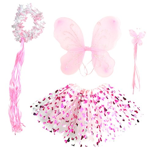 [Girls Pink Butterfly Fairy Costume with Wings, Wand, Halo Age 3-8] (Dress Up Fairy Wings)