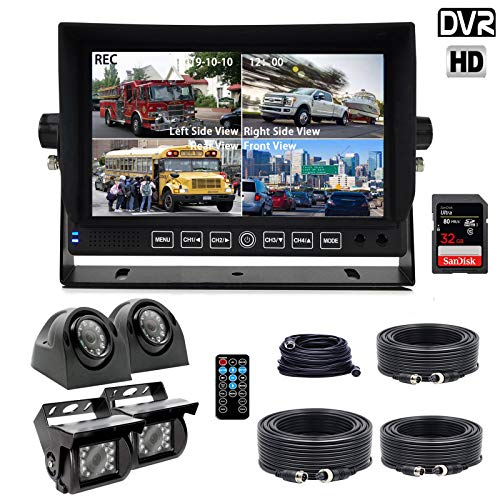 - Douxury Backup Camera System, 4 Splite Screen 7'' Quad View Display HD Monitor with DVR Recording Function, Waterproof Night Vision Cameras x 4 for Truck Trailer Heavy Box Truck RV Camper Bus