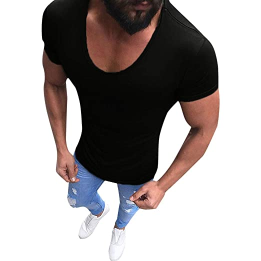 b95a2cc409aa Men Summer Tees Shirts Casual Short Sleeve V-Neck Slim Muscle Fit Tunic Top  for